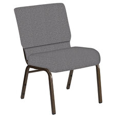 Embroidered 21''W Church Chair in Ribbons Fog Fabric - Gold Vein Frame