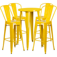 "Commercial Grade 24"" Round Yellow Metal Indoor-Outdoor Bar Table Set with 4 Cafe Stools"