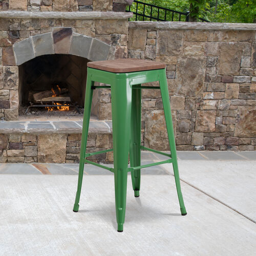 """30"""" High Backless Green Metal Barstool with Square Wood Seat"""
