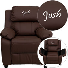 Personalized Deluxe Padded Brown Leather Kids Recliner with Storage Arms