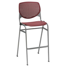2300 KOOL Series Stacking Poly Armless Barstool with Perforated Back and Silver Frame - Burgundy