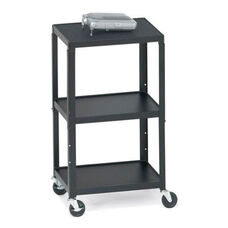 Three-Shelf Adjustable AV Notebook Cart with 6 Electrical Outlets - 24