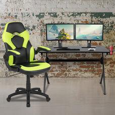 BlackArc Black Gaming Desk and Green/Black Racing Chair Set with Cup Holder, Headphone Hook & 2 Wire Management Holes