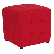 Avendale Tufted Upholstered Ottoman Pouf in Red Fabric