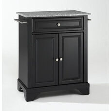 Solid Granite Top Portable Kitchen Island with Lafayette Feet - Black Finish