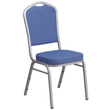 HERCULES Series Crown Back Stacking Banquet Chair in Blue Fabric - Silver Frame