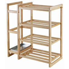 Isabel Shoe Rack with Umbrella Stand and Tray in Natural Finish