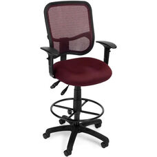 Mesh Comfort Ergonomic Task Chair with Arms and Drafting Kit - Wine
