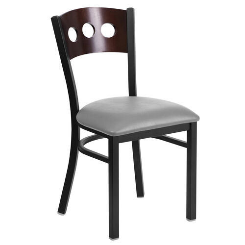 Our Black Decorative 3 Circle Back Metal Restaurant Chair with Walnut Wood Back & Custom Upholstered Seat is on sale now.