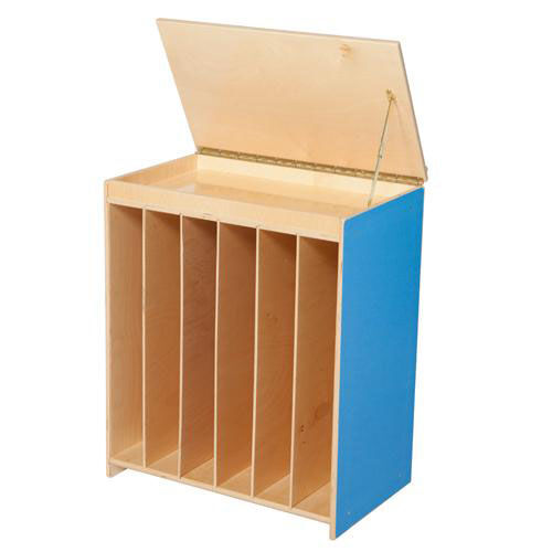 Our Blueberry Big Book Display and Storage with Locking Piano Hinged Top with Flannel on Front - Assembled - 24