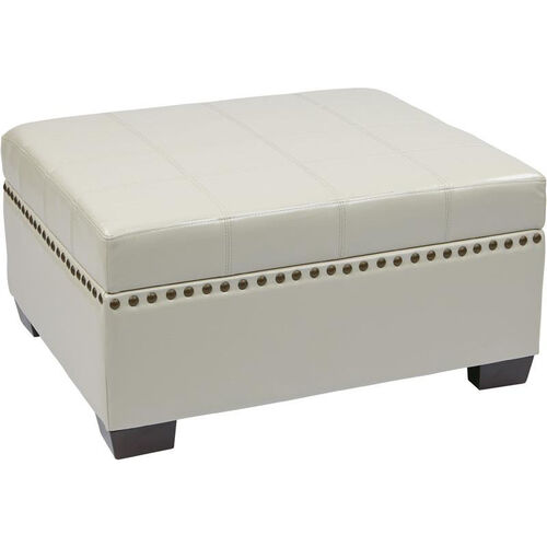 Our Ave Six Detour Eco Leather Storage Ottoman with Tray - Cream is on sale now.