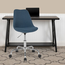 Aurora Series Mid-Back Blue Fabric Task Office Chair with Pneumatic Lift and Chrome Base