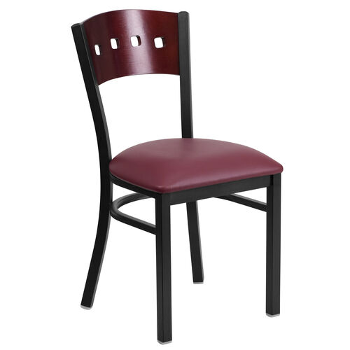 Our Black Decorative 4 Square Back Metal Restaurant Chair with Mahogany Wood Back & Burgundy Vinyl Seat is on sale now.