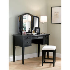 Vanity with Mirror and Bench - Antique Black with Sand Through and Off White Fabric Seat