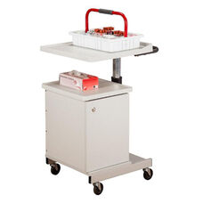 Large H Base Pneumatic Phlebotomy Cart with 4 Removable Storage Bins