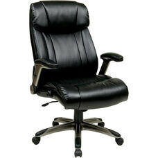 Work Smart Executive High Back Eco Leather Chair with Cocoa Coated Base - Espresso