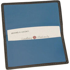 Business Card Case - Top Grain Nappa Leather - Black and Ocean Blue