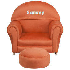 Personalized Kids Orange Microfiber Rocker Chair and Footrest