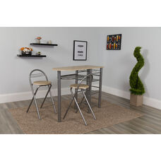 Carnegie 3 Piece Space-Saver Natural Finish Bistro Set with Wine Rack, Shelving and Folding Chairs