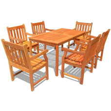 Malibu Outdoor 7 Piece Wood Patio Dining  Set with Rectangular Table with 6 Slat Back Armchairs