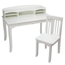 Avalon Kids Wooden Writing Desk with Desk-Top Hutch - White