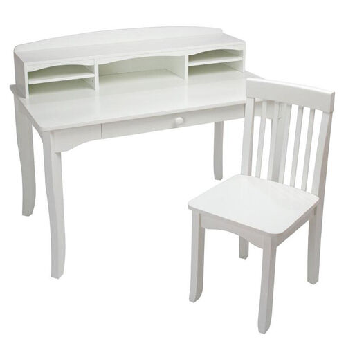 Our Avalon Kids Wooden Writing Desk with Desk-Top Hutch - White is on sale now.