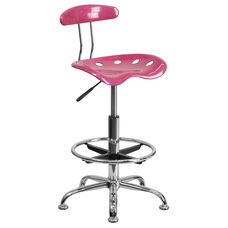 Vibrant Pink and Chrome Drafting Stool with Tractor Seat