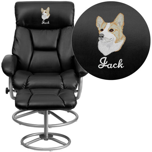 Embroidered Contemporary Multi-Position Recliner and Ottoman with Metal Base in Black LeatherSoft