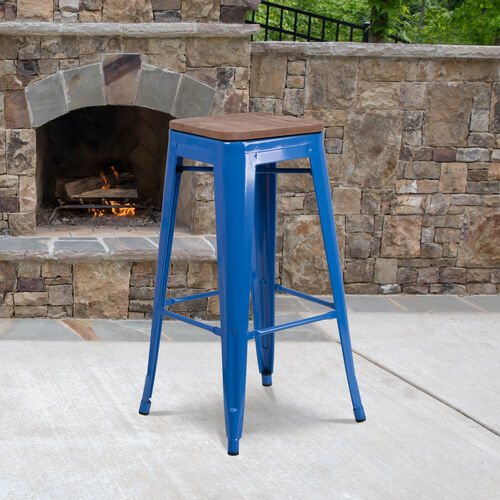 """30"""" High Backless Blue Metal Barstool with Square Wood Seat"""