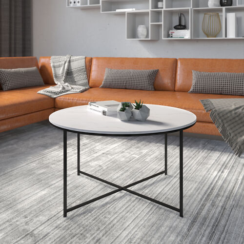 Hampstead Collection Coffee Table - Modern White Marble Finish Accent Table with Crisscross Matte Black Frame