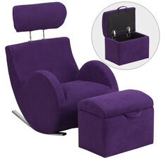 HERCULES Series Purple Fabric Rocking Chair with Storage Ottoman