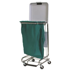 Covered Square Hamper with Chrome Plated Frame and Two Locking Casters