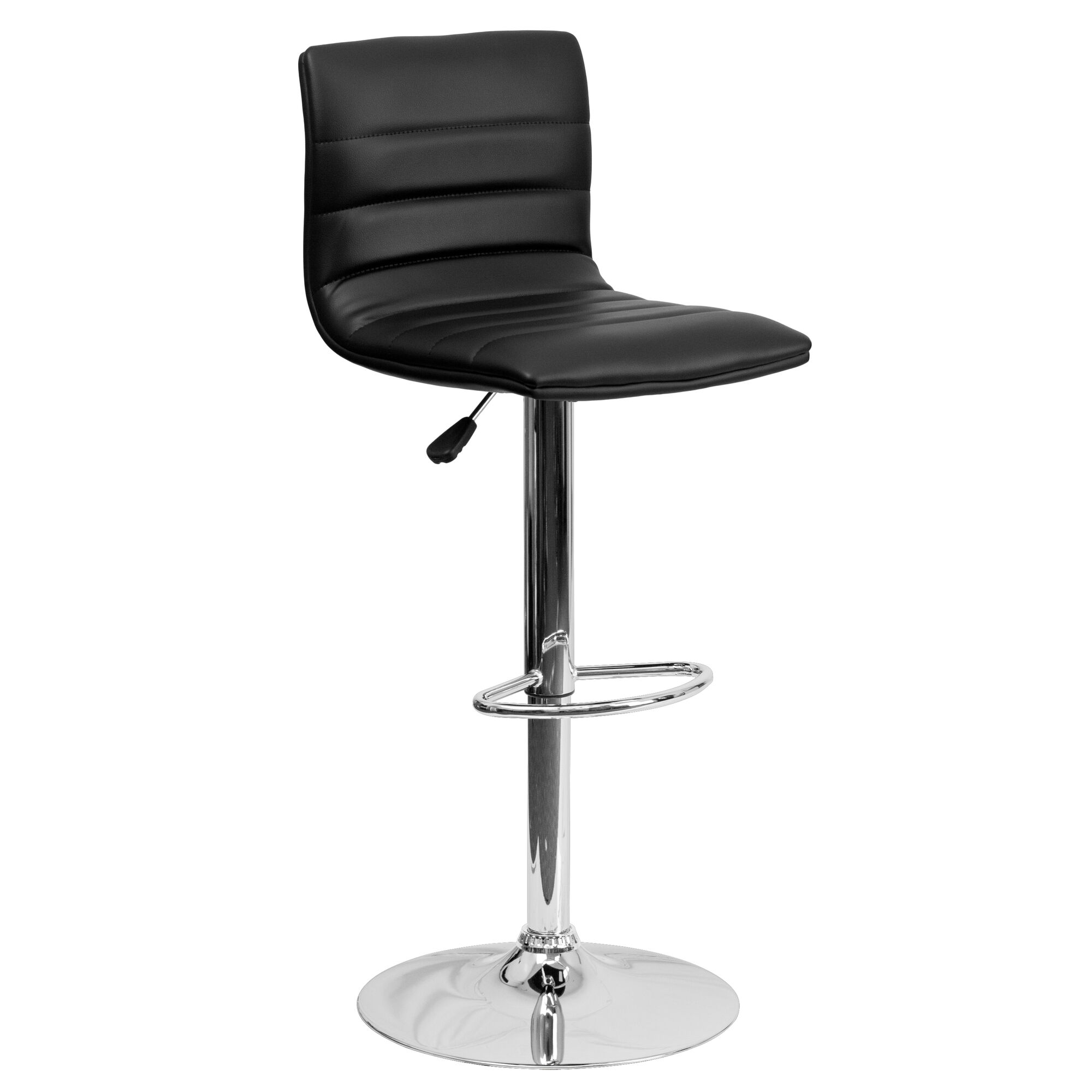 Fabulous Contemporary Black Vinyl Adjustable Height Barstool With Horizontal Stitch Back And Chrome Base Ibusinesslaw Wood Chair Design Ideas Ibusinesslaworg