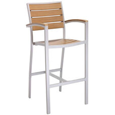 Cedar Key Collection Outdoor Barstool with Faux Teak Back and Seat - Silver