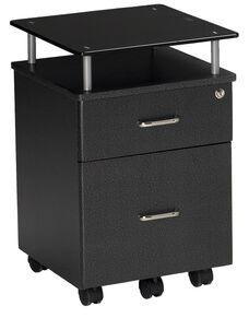 Vision Box and File Drawer Pedestal with Raised Black Glass Top - Anthracite