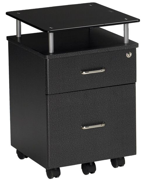 Our Vision Box and File Drawer Pedestal with Raised Black Glass Top - Anthracite is on sale now.