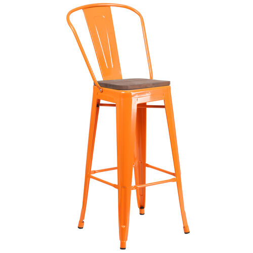 """Our 30"""" High Orange Metal Barstool with Back and Wood Seat is on sale now."""