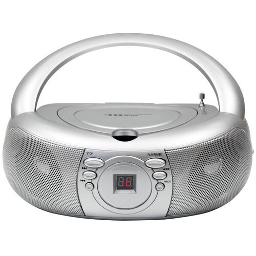 Our Silver Pushbutton Designed Boombox with Top Loading CD Player and AM/FM Radio Tuner - 9
