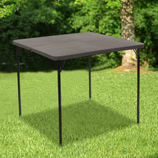2.83-Foot Square Bi-Fold Dark Gray Plastic Folding Table with Carrying Handle