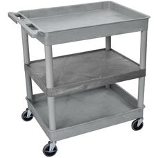 Heavy Duty Multi-Purpose Large Mobile Tub Utility Cart with 1 Flat Shelf and 2 Tub Shelves - Gray - 32