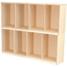 Wooden Stackable Open Locker - Two Sets of Four Lockers - 49