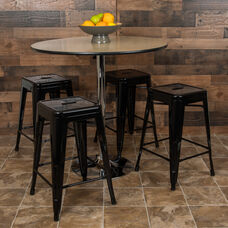 "24"" High Metal Counter-Height, Indoor Bar Stool in Black - Stackable Set of 4"