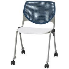 2300 KOOL Series Stacking Poly Silver Steel Frame Armless Chair with Navy Perforated Back and Casters - White Seat