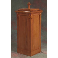 Stained Red Oak Baptismal Font with Accents and Fluted Column Corners