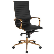 High Back Black Ribbed LeatherSoft Executive Swivel Office Chair with Gold Frame, Knee-Tilt Control and Arms