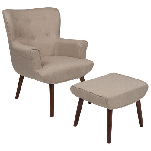 Our Bayton Upholstered Wingback Chair with Ottoman in Beige Fabric is on sale now.
