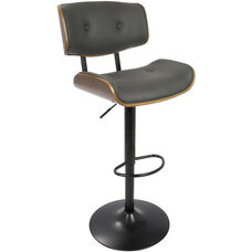 Lombardi Mid-Century Modern Faux Leather Height Adjustable Swivel Barstool with Walnut Accents - Grey