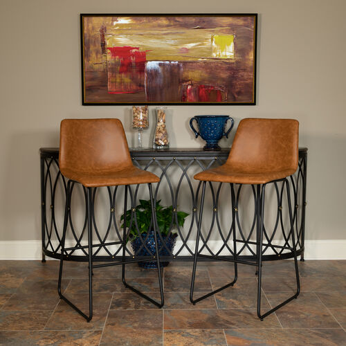 Our 30 inch LeatherSoft Bar Height Barstools in Light Brown, Set of 2 is on sale now.