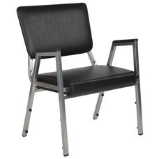 HERCULES Series 1500 lb. Rated Black Antimicrobial Vinyl Bariatric Medical Reception Arm Chair with 3/4 Panel Back