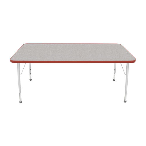 Our Adjustable Standard Height Laminate Top Rectangular Activity Table - Nebula Top with Red Edge and Legs - 60